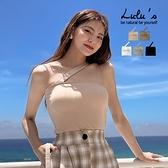LULUS【A01210289】Y斜肩平口罩杯上衣5色