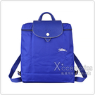 LONGCHAMP COLLECTION刺繡LOGO尼龍摺疊拉鍊後背包(藍x白)