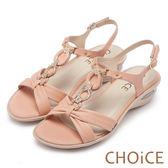 限時特賣-CHOiCE 異國休閒舒適 柔軟羊皮鑽練造型氣墊涼鞋-粉色