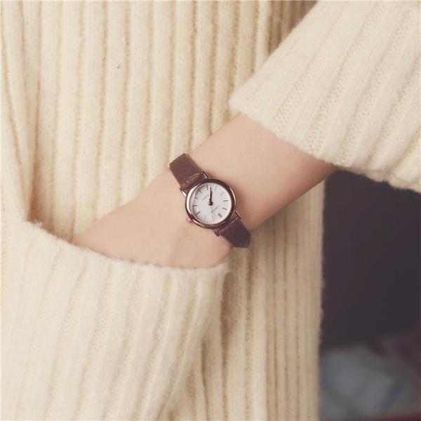 韓國訂單氣質時尚潮流女士經典圓形中學生百搭女生簡約鏈韓版手表 怦然新品