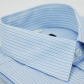 【金‧安德森】藍底黑點條紋窄版長袖襯衫