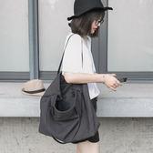 韓版文藝帆布包斜背包學院風簡約百搭潮女大包包休閒子母包購物袋