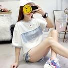 短袖女學生韓版寬鬆夏季女裝圓領T恤原宿風bf字母閨蜜裝上衣【全館免運】