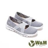 【南紡購物中心】W&M 圓頭金蔥飛織布交叉彈力帶娃娃鞋 女鞋-灰銀蔥(另有黑金蔥 粉銀蔥)