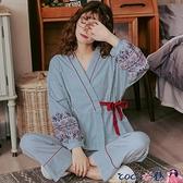 熱賣和服 春秋季純棉大碼睡衣女日式和服少女士秋冬全棉長袖家居服兩件套裝【618 狂歡】