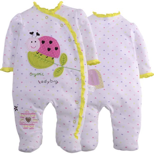 長袖連身兔裝 彩色愛心滾花邊瓢蟲貼布 全開扣寶寶連身包腳衣.連身衣~EMMA商城