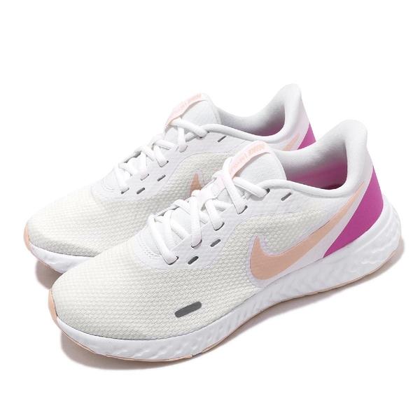Nike 慢跑鞋 Wmns Revolution 5 白 粉紅 女鞋 運動鞋 【ACS】 BQ3207-103