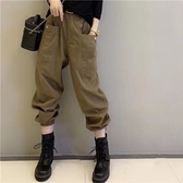 工裝褲女顯瘦束腳哈倫褲寬松九分褲【左岸男裝】