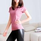 運動上衣 運動短袖女修身緊身瑜伽上衣健身房跑步訓練t恤網孔美背健身服夏-Ballet朵朵
