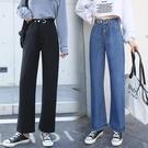 新品特價# 直銷秋季新款高腰牛仔褲女寬松個性腰頭垂感拖地褲闊腿褲