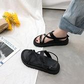 羅馬交叉綁帶涼鞋女ins潮2021夏季新款韓版百搭網紅平底涼拖鞋子 【端午節特惠】
