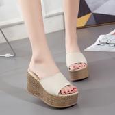 夏季女拖鞋坡跟厚底防水台高跟一字拖時尚外穿百搭涼鞋女士新款潮『潮流世家』