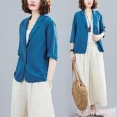 薄款亞麻西裝女2020夏季新款復古寬鬆大碼棉麻防曬衣休閒短款外套 極速出貨
