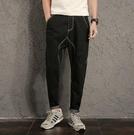 找到自己 MD 日系 潮 男 時尚 休閒 寬鬆 百搭 復古 黑色 明緝線 大尺碼 牛仔褲 直筒褲 小腳褲
