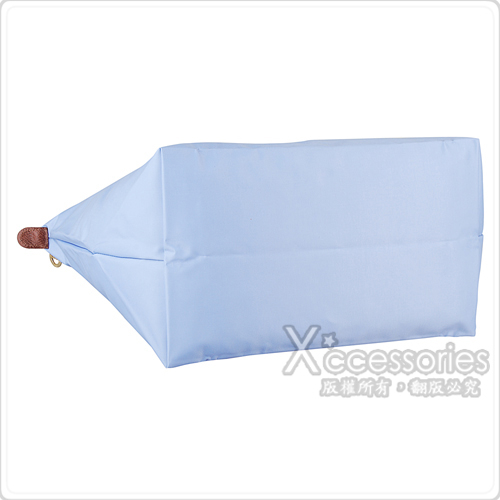LONGCHAMP Le Pliage系列經典摺疊款式長提把尼龍拉鍊托特肩背包(大/薄霧藍)