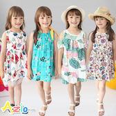 童裝 洋裝 彩花椰葉露肩/線格黃蝴蝶結/後線繡兔子/果物後蝴蝶結網紗洋裝(共4款) Azio Kids