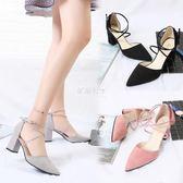 高跟粗跟腳腕綁帶羅馬鞋尖頭側空女涼鞋性感包頭女鞋  伊莎公主