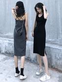 吊帶裙打底露背性感吊帶連身裙夏季2020新款內搭背心小黑裙休閒裙子女潮 雙11 伊蘿