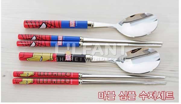 韓國進口 MARVEL 餐具組 不鏽鋼筷子+湯匙(蜘蛛人/鋼鐵人)