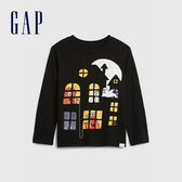 Gap男幼童 童趣精靈圖案圓領長袖T恤 617826-黑色