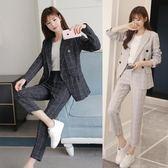 西裝套裝 韓國秋冬女裝韓版氣質翻領雙排扣修身收腰西裝 迪澳安娜