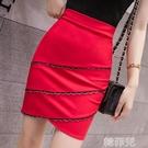 窄裙 新款高腰a字半身裙蕾絲邊短裙女彈力包臀修身一步裙黑色 韓菲兒