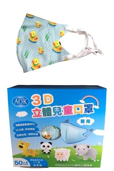 【一次3盒 單盒450元】AOK MEDTECH一般醫用口罩(未滅菌) 兒童S-藍小鴨 粉蛙