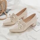 2020年秋季新款仙女鞋溫柔中跟粗跟尖頭小皮鞋女平底單鞋女夏百搭 依凡卡時尚