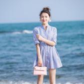 洋裝大碼連身裙收腰襯衫連身裙條紋裙子夏
