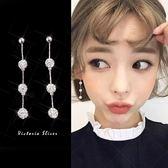 925純銀針  韓國優雅氣質   水晶球 長款耳環-維多利亞181257
