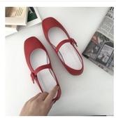 娃娃鞋 仙女鞋淺口少女一字扣單鞋女軟妹溫柔鞋甜美平底夏季女鞋子夏學生 瑪麗蘇