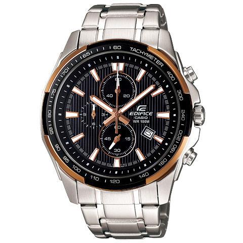 CASIO EDIFICE 極簡耀眼計時運動錶(黑金框)