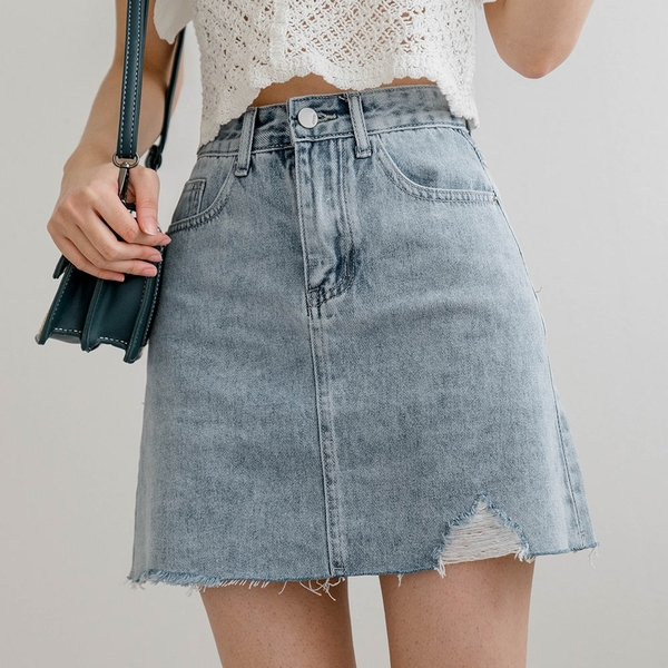 MIUSTAR 下刷破壞抽鬚牛仔短裙(共1色,S-L)【NJ1592】預購