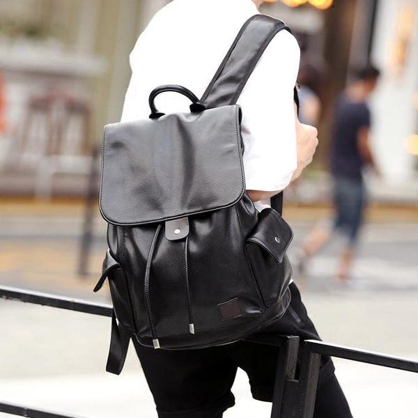 男生後背包   街頭背包雙肩包韓版皮質 商務潮流抽帶時尚背包書包旅行包潮   ciyo黛雅