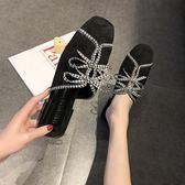 網紅同款格子布方跟穆勒鞋女粗跟2019夏新款蝴蝶結方頭包頭半拖鞋【新品上新】