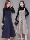 吊帶毛呢子背心背帶中長款洋裝打底針織衫兩件套裝女秋冬2020款 618購物節