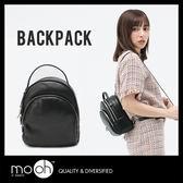 後背包 全真皮拉鍊三層質感小後背包 黑色 //德古拉//【mo.oh X 設計師原創款】