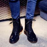黑色成人水鞋低幫時尚雨鞋男士 帥氣馬丁戶外防水防滑雨靴 焦糖布丁