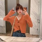 針織開衫 秋季新款開衫毛衣女短款寬松學生小個子針織衫外套上衣春秋裝 新年禮物