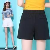 西裝褲 白色寬管短褲女夏顯瘦正韓高腰寬鬆a字西裝薄款雪紡熱褲-Ballet朵朵