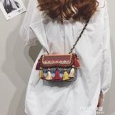 編織包 百搭流行小包包仙女秋冬新款時尚編織包流蘇側背斜背包潮 朵拉朵YC