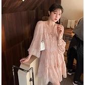 長袖洋裝 洋裝2021新款春小個子娃娃裙女夏季雪紡長袖碎花仙女洋裝薄款【快速出貨】