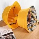 兒童遮陽帽 日本防嗮幼兒園小黃帽兒童漁夫帽帽子防風繩小學生太陽帽【快速出貨八折搶購】