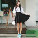 (全館免運) - 韓版 背帶裙學院風高腰短裙太空棉百褶裙 。【HI-295】