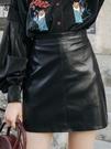 皮裙 高腰純色PU皮短裙女春裝2020新款韓版百搭半身裙a字裙小皮裙【全館免運】