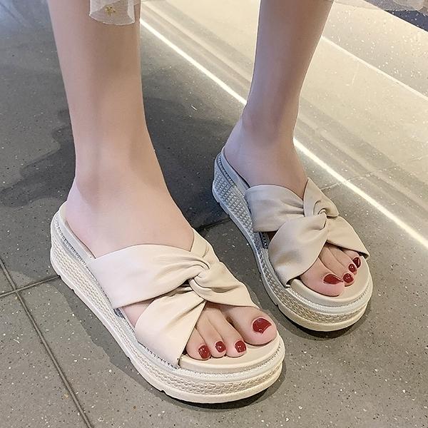 拖鞋.日系甜美純色扭結鑲鑽厚底拖鞋.白鳥麗子