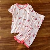 女童睡衣套裝寶寶夏季薄款家居服兒童人棉空調衫2020新款短袖童裝 漾美眉韓衣