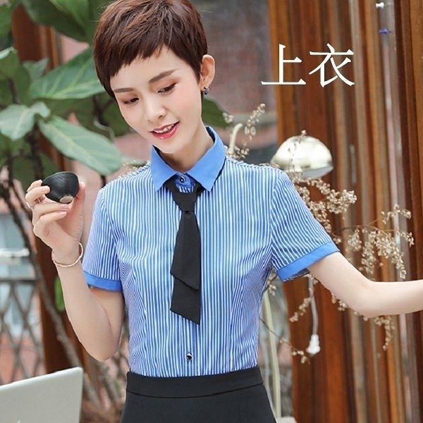 小三衣藏[8Y395-PF]視覺顯瘦直條紋職業感OL短袖襯衫上衣(不含領結)