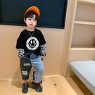 男童T恤 2021春秋裝新款男孩寶寶洋氣上衣兒童假兩件打底衫潮【牛年大吉】