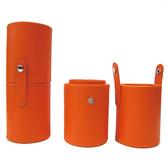 Galatea葛拉蒂短柄刷收納皮革圓筒(亮麗橘)